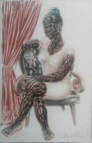 The crossed legs lady. 100x65cm. Pastel on paper by Salifou Lindou, contemporary artist from Cameroon. Purchase Artwork online on Afikaris.