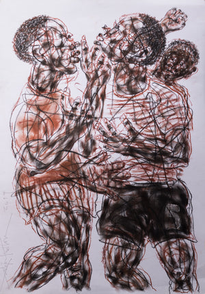 La dispute. 100x65cm. Pastel on paper by Salifou Lindou, contemporary artist from Cameroon. Purchase Artwork online on Afikaris.