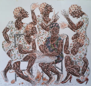 Mother and her daughters. 150x130cm. Pastel on paper by Salifou Lindou, contemporary artist from Cameroon. Purchase Artwork online on Afikaris.