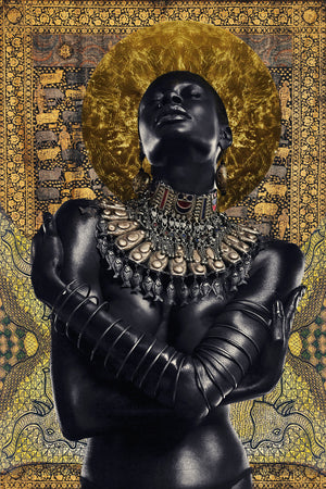"She is embraced by the sun by Asiko. Nigerian photographer born in London. Two sizes available 50x33cm and 100x66cm, metallic printing. Artwork for sale on Afikaris. From ""Adorned"" series."