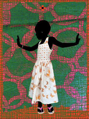 The Butterfly, T v Green. Hand painted (unique) photography, from The shadowed people series. By Saidou Dicko, contemporary artist from Burkina Faso.