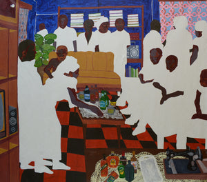 Newman's house, 224x248cm, Acrylic on canvas by Gideon Appah contemporary artist from Ghana, living in Accra.