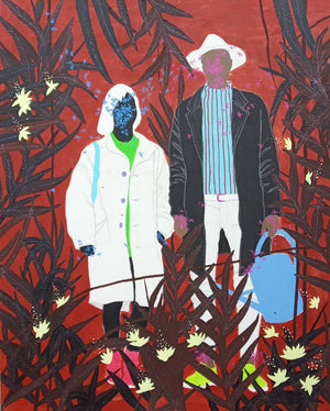Mon Jardinier, by Moustapha Baidi Oumarou. Cameroonian contemporary artist. 180x150cm acrylic and ink on canvas