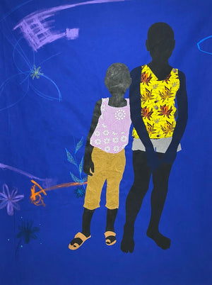 Winne and Vane, 175 x 132 cm, Acrylic and khaki on canvas by Raphael Adjetey Adjei Mayne contemporary artist from Ghana.