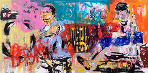 Fire Money, acrylic and collage on canvas, 120x240cm. By Yagor Yahaut contemporary artist from Ivory Coast living in France. For sale