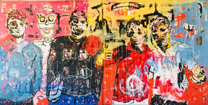 Toxic city (Diptych), acrylic and collage on canvas, 150x300cm. By Yagor Yahaut contemporary artist from Ivory Coast living in France. For sale