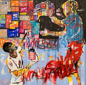 The scale, acrylic and collage on canvas, 150x150cm. By Yagor Yahaut contemporary artist from Ivory Coast living in France. For sale