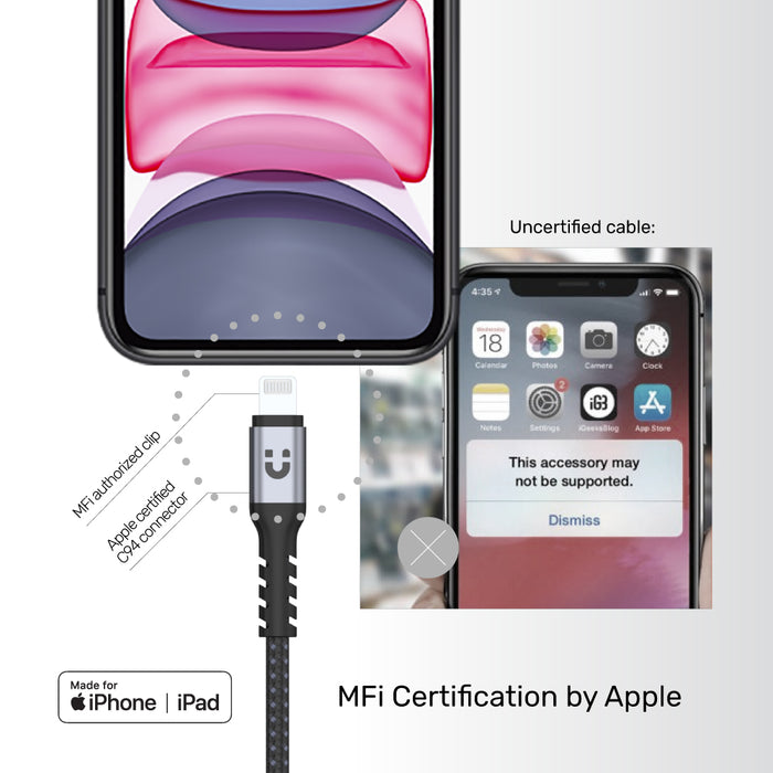 MFi USB-C to Lightning cable for iOS devices