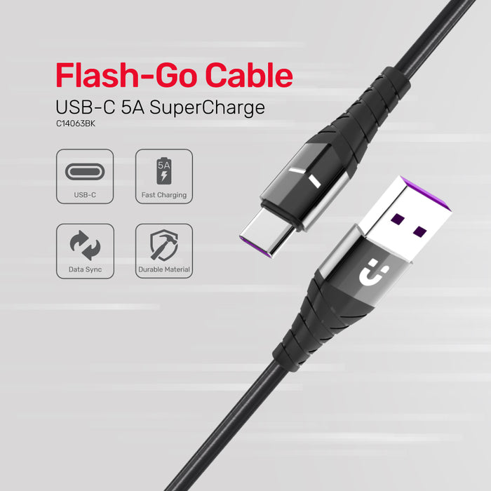 Flash-GO USB-C 5A Cable Supporting Huawei SuperCharge
