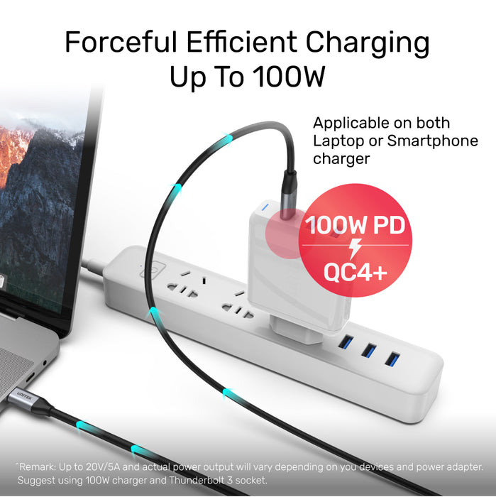 Full-Featured USB-C 100W PD Fast Charging Cable with 4K@60Hz and 5Gbps (USB 3.0)