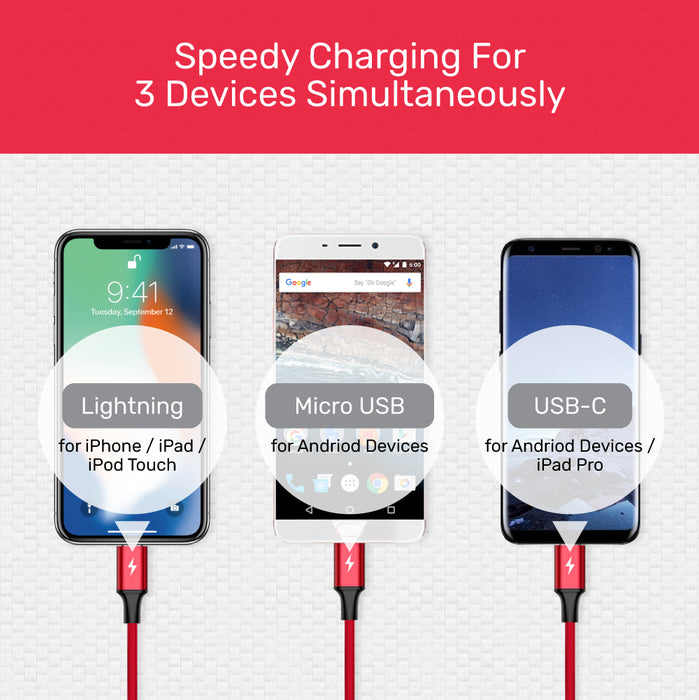 USB 3-in-1 Charging Cable (USB C / Micro USB / Lightning)