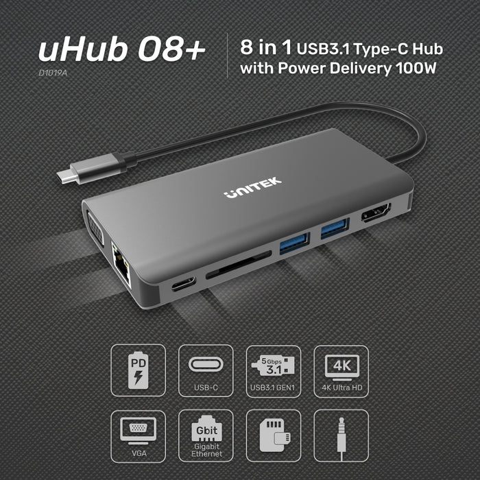 uHUB O8+ 8-in-1 USB3.1 Type-C Hub with Power Delivery 100W