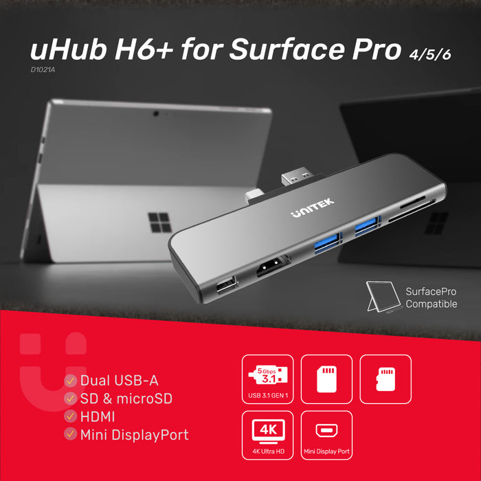 uHUB H6+ for Surface Pro 6-in-1 Hub