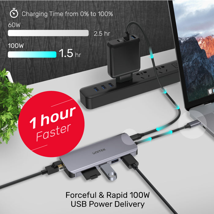 uHUB N9+ USB C 5Gbps 9 Ports Hub With PD 100W & Multi-function