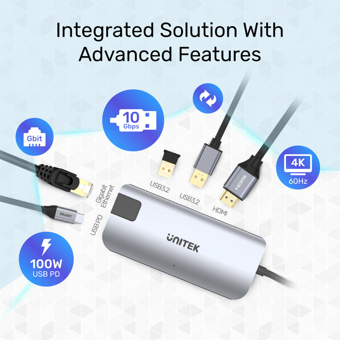 uHUB P5+ 5-in-1 USB-C Ethernet Hub with HDMI and 100W Power Delivery