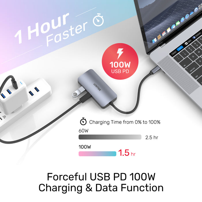 uHUB P5 Trio 5-in-1 USB-C Hub with MST Triple Display and PD 100W