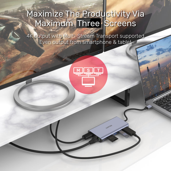 uHUB S7+ 7-in-1 USB-C Ethernet Hub with MST Dual Monitor, 100W Power Delivery and Card Reader