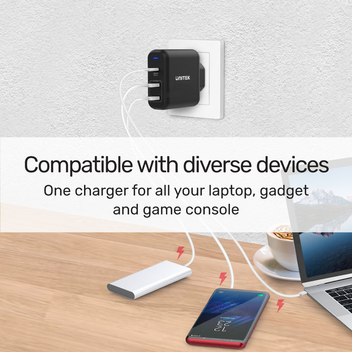 TRAVEL CUBE 3 Ports USB PD 60W Fast Charger EU Plug