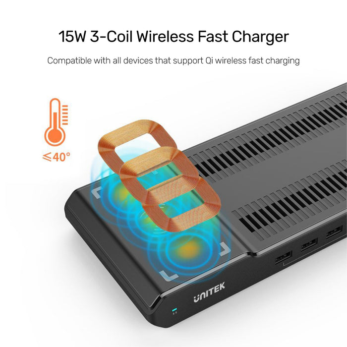 96W 8 Ports USB Smart Charging Station With Wireless Fast Charger