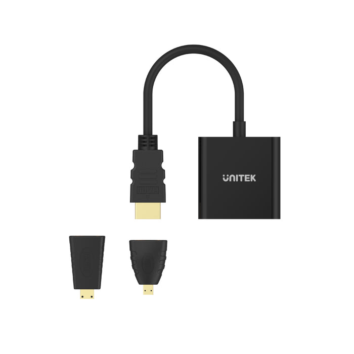 HDMI (M) to VGA (F) Adapter With Audio Solution Plus Mini & Micro HDMI Adapter