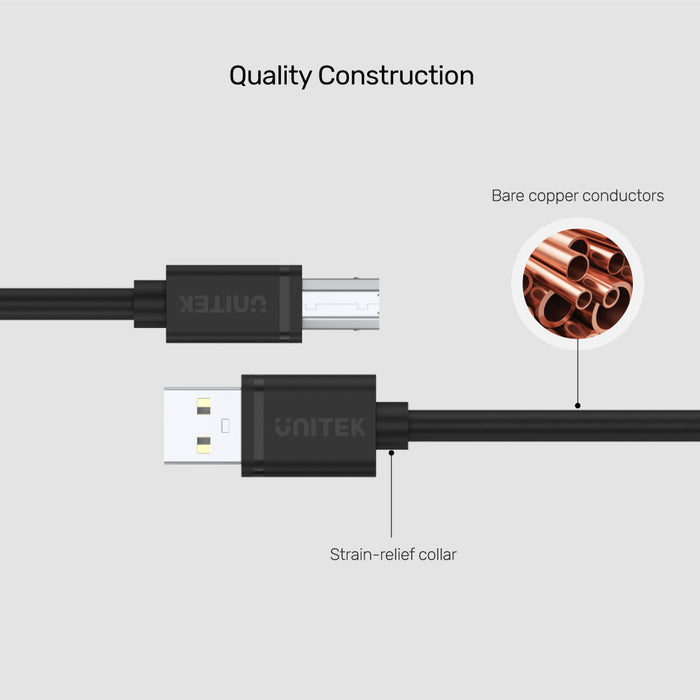 USB 2.0 USB A (M) to USB B (M) Cable
