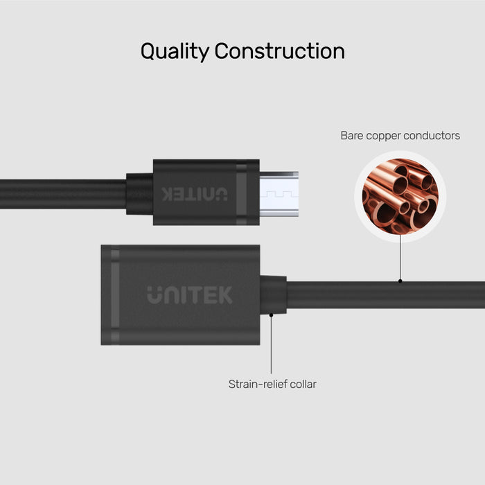 USB 2.0 Micro USB (M) to USB (F) OTG Cable
