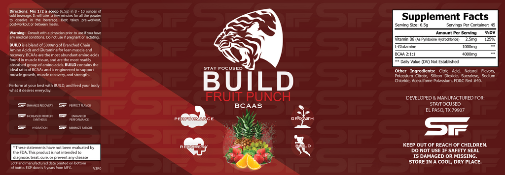 BUILD | StayFocused BCAAs | Fruit Punch