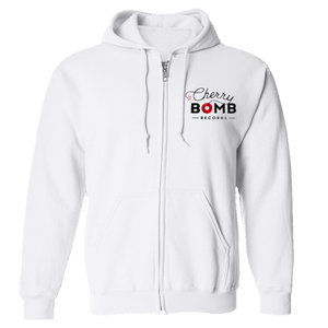 Cherry Bomb Records White Logo Zip Hoodies