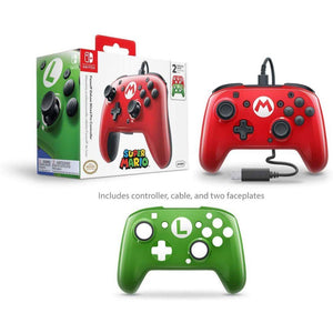 PDP Nintendo Switch Faceoff Wired Pro Controller with 2 Super Mario Controller Faceplates