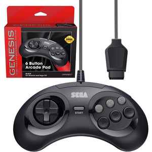 Retro-Bit Official Sega Genesis Controller 6-Button Arcade Pad - Black