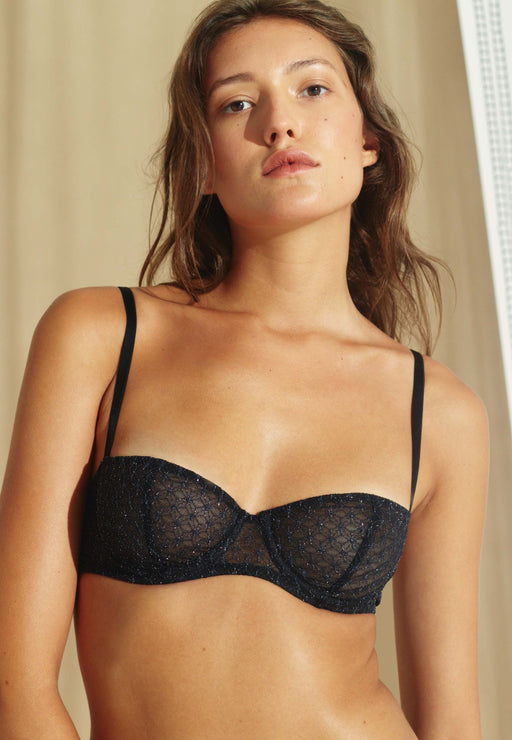 Balconnet Black & Silver Lace