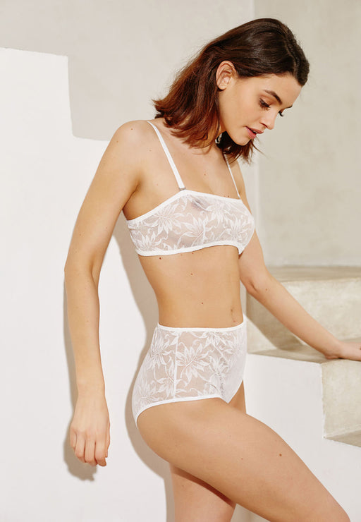 Culotte haute White leaves