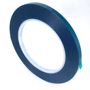 "1/4"" Wide High Temp Masking Tape for Powder Coating, Custom Painting, Hydrodip, Sublimation - Green Polyester Silicone Adhesive"
