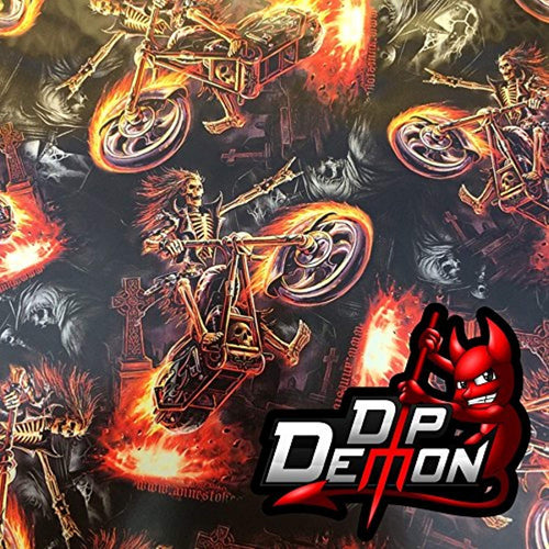Hell Rider Motorcycle Skulls Hydrographic Water Transfer Film Hydro Dipping Dip Demon