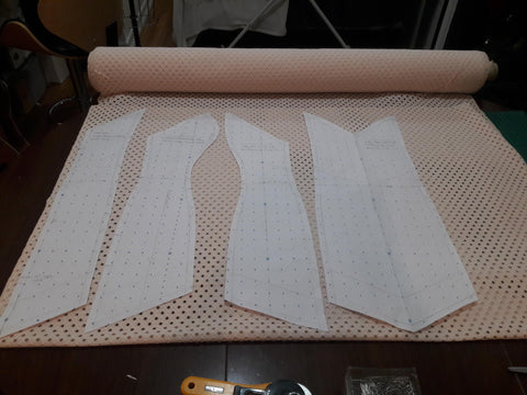 Emma Dress 1st Proto being cut from the cotton eyelet cloth