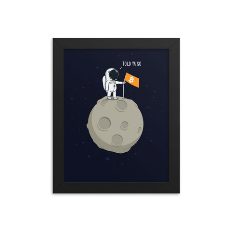 Bitcoin Moonman - Framed poster