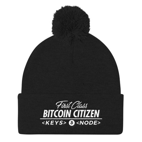 First Class Bitcoin Citizen - Pom Pom Knit Cap