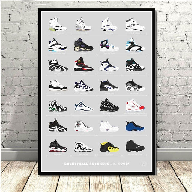 Poster Sneakers Basketball '90