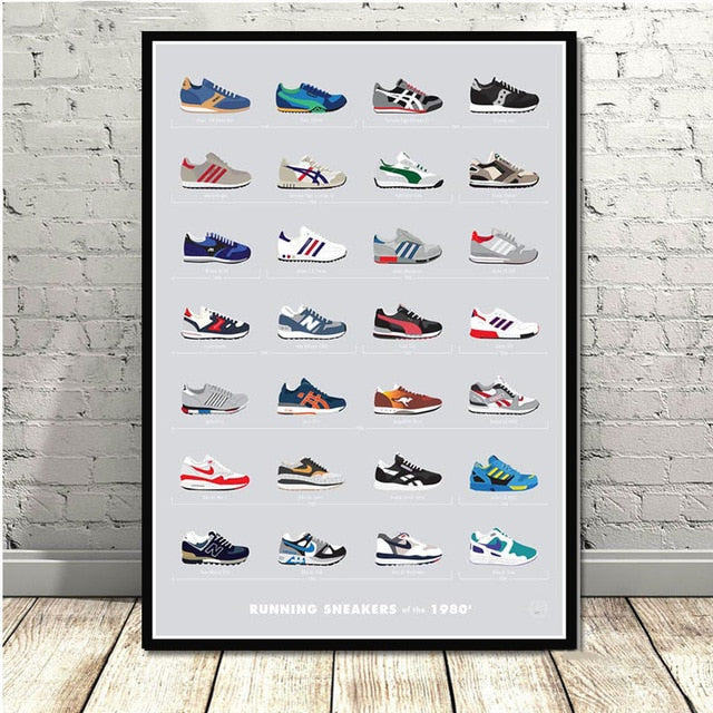 poster sneakers running 80s
