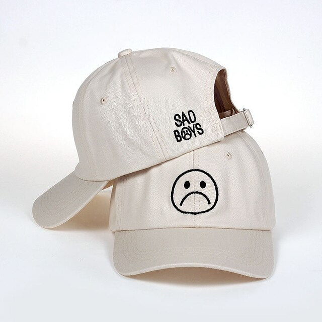 casquette sad boys smiley beige