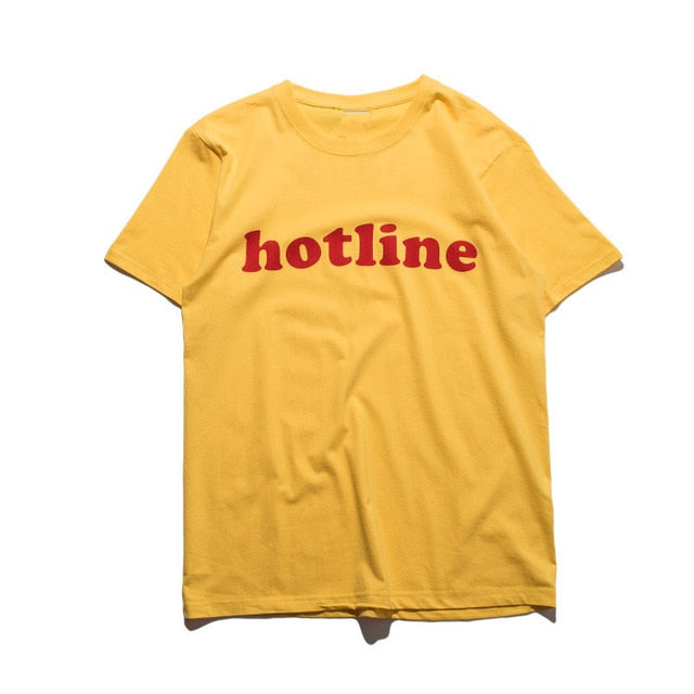 t-shirt hotline jaune
