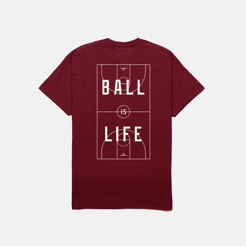 BALL IS LIFE T-SHIRT (BURGUNDY)