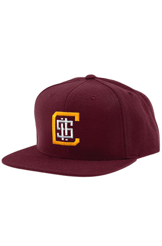 CHA-CHING SNAPBACK HAT (BURGUNDY/YELLOW) - 1