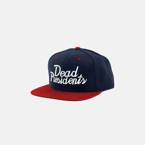 DEAD PRESIDENTS SCRIPT SNAPBACK HAT (NAVY/RED) - 1
