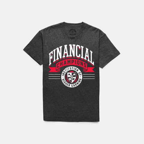 FINANCIAL CHAMPS T-SHIRT (CHARCOAL HEATHER / RED) - 1
