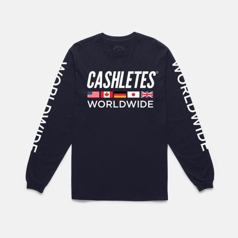 WORLDWIDE L/S TEE (NAVY) - 1