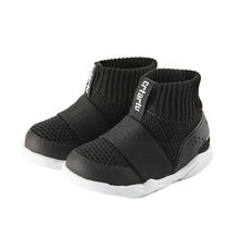 Load image into Gallery viewer, Children's shoes, black comfortable snug fit boot, stretchable opening, easy on and off