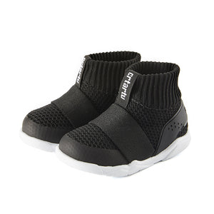 Children's shoes, black comfortable snug fit boot, stretchable opening, easy on and off