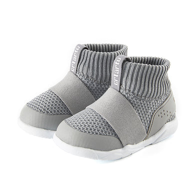 Children's shoes, gray comfortable snug fit boot, stretchable opening, easy on and off