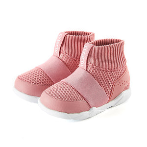 Children's shoes, pink comfortable snug fit boot, stretchable opening, easy on and off